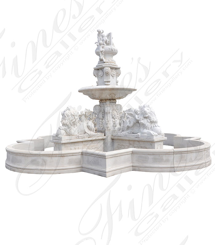 Marble Fountains  - Monumental Fountain In A White Marble - MF-2084