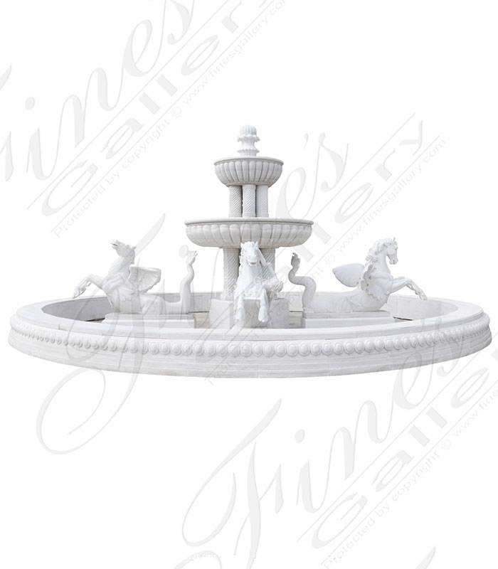 Marble Fountains  - Massive White Marble Fountain Featuring Winged Horses - MF-2085