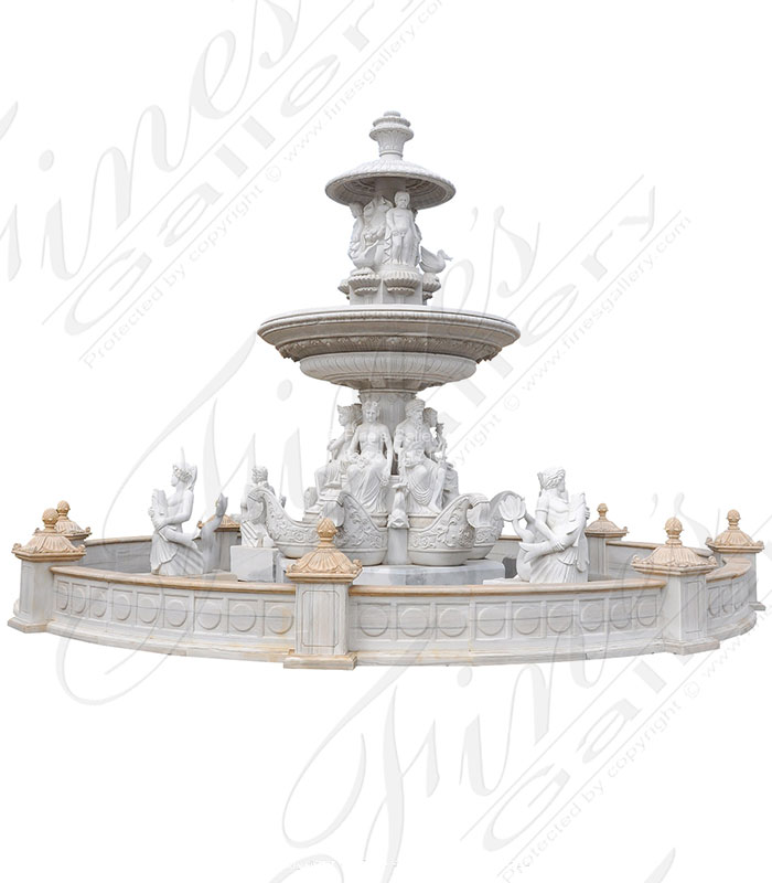 Marble Fountains  - Highly Ornate Grand Hand Carved Marble Fountain - MF-2086