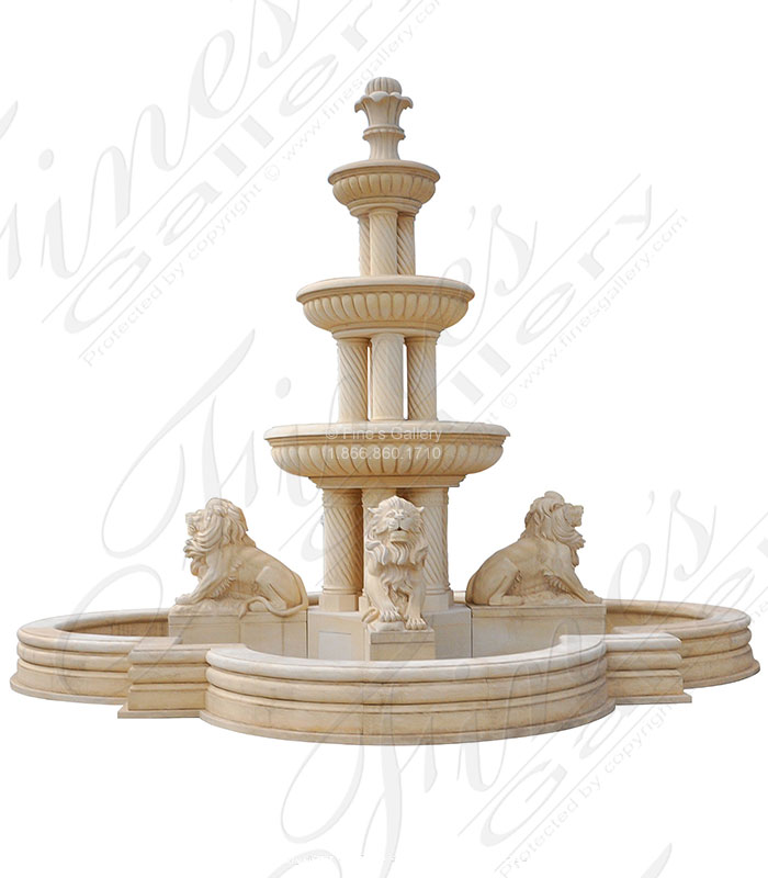 Marble Fountains  - Monumental Cream Marble Fountain - MF-2087