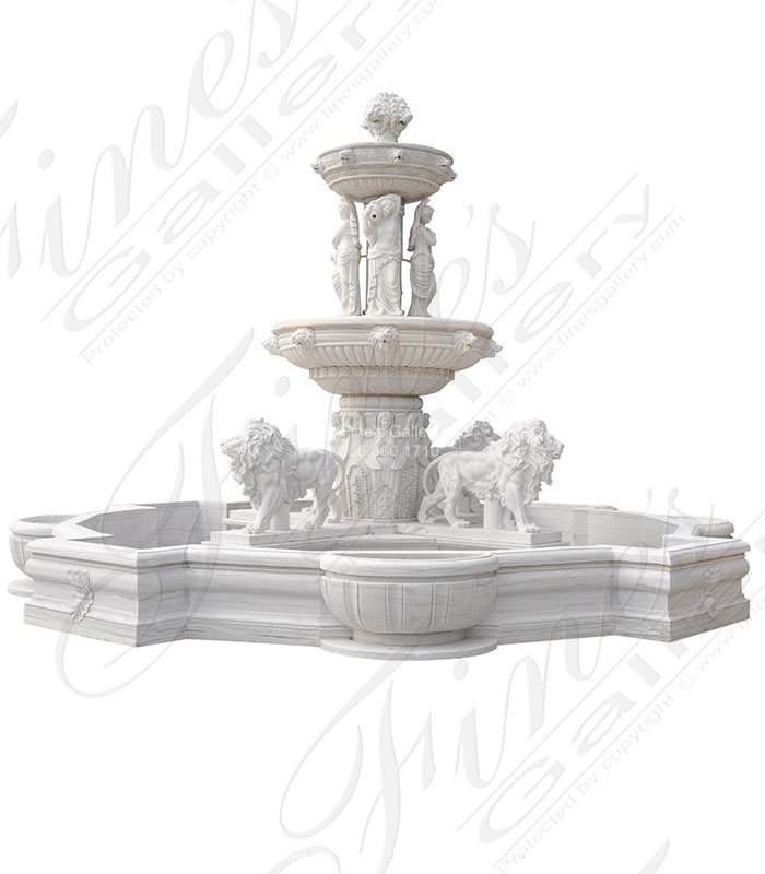 Marble Fountains  - Roman Lions Den Fountain In Natural White Marble - MF-2089