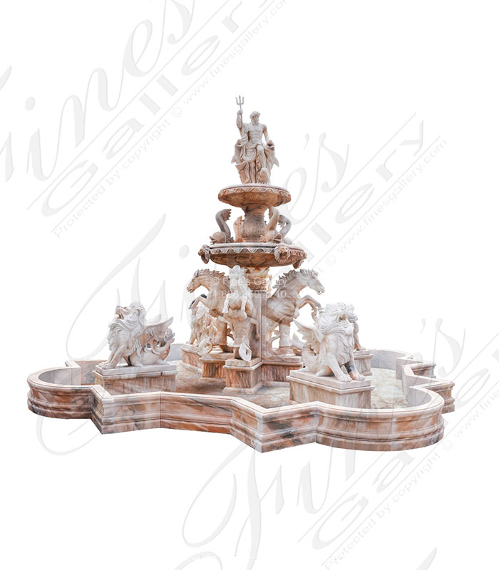 Marble Fountains  - 20 Foot Tall Elaborate Carved Marble Fountain - MF-2090