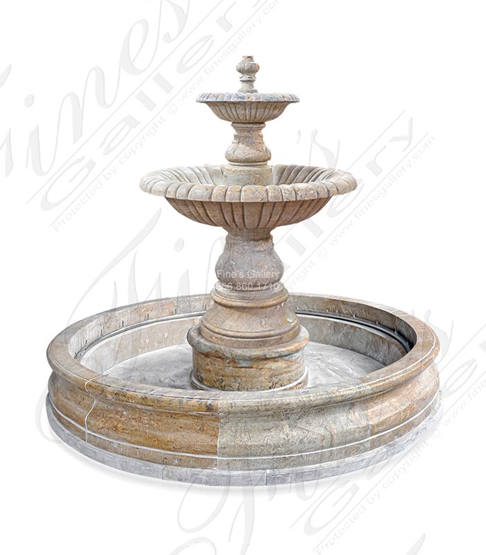 96 Inch Round Two Tiered Granite Fountain with Water Jets
