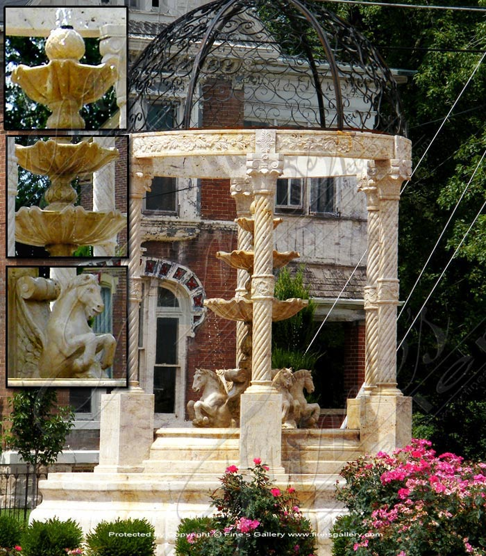 Marble Fountains  - Rearing Horses Grecian Marble Fountain - MF-1230