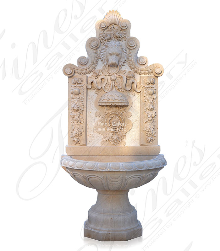 Majestic Flora Lionhead Marble Wall Fountain