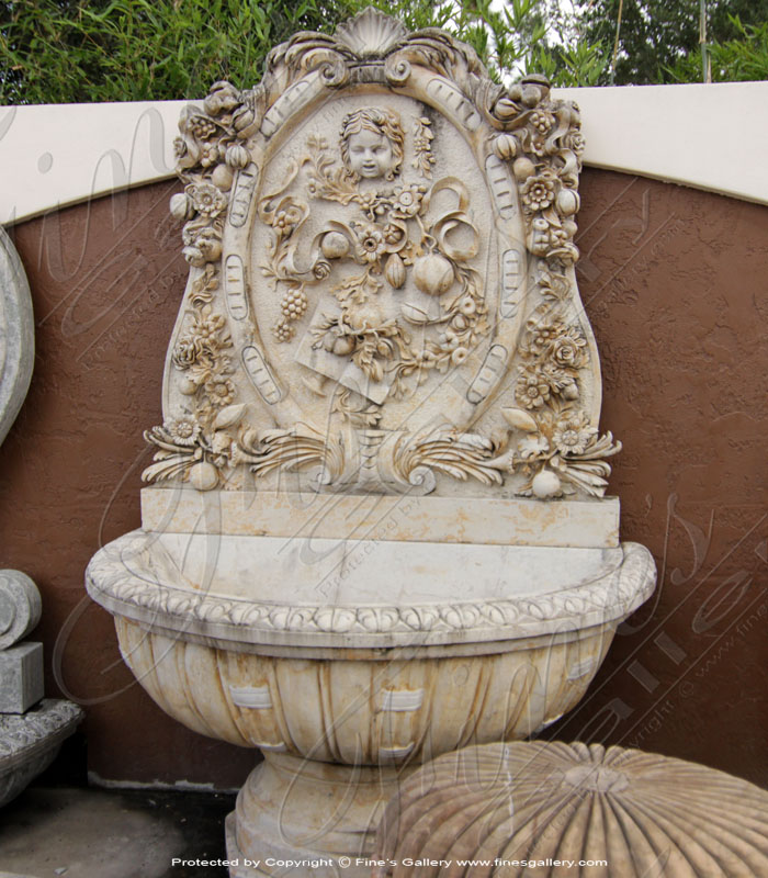 Marble Fountains  - Large Outdoor Wall Fountain In Marble - MF-445
