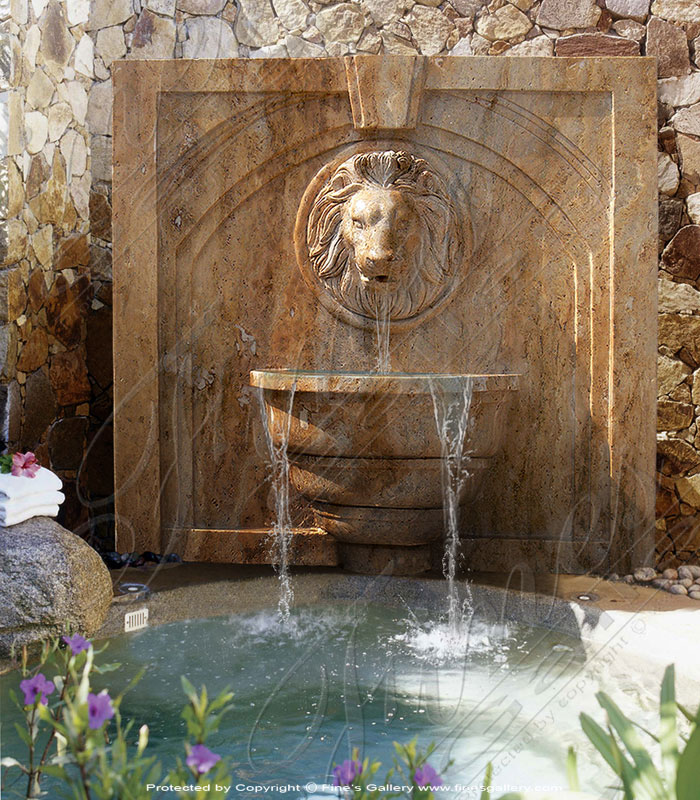 Marble Lion Wall Fountain