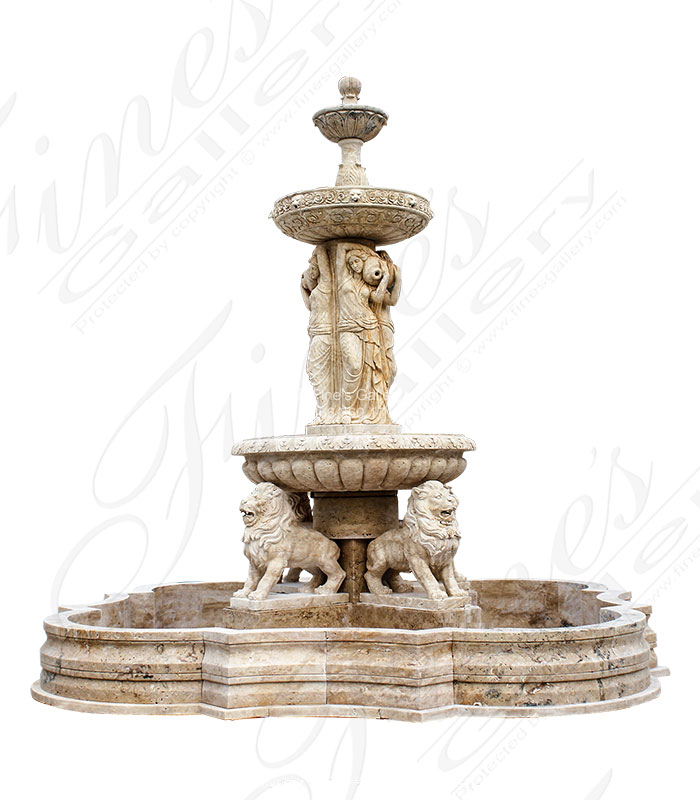 Marble Fountains  - Ladies & Lions Marble Fountain - MF-571