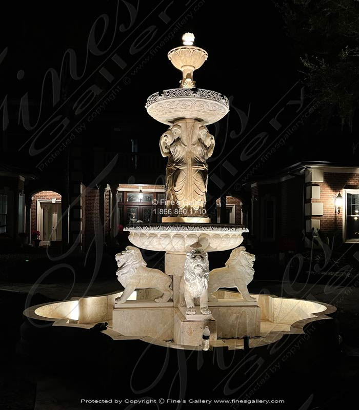 Marble Fountains  - Ladies And Lions Travertine Fountain - MF-571