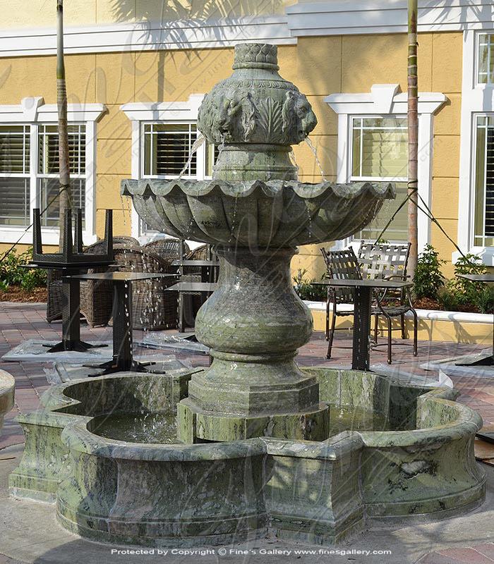 Green Marble Lions Garden Fountain