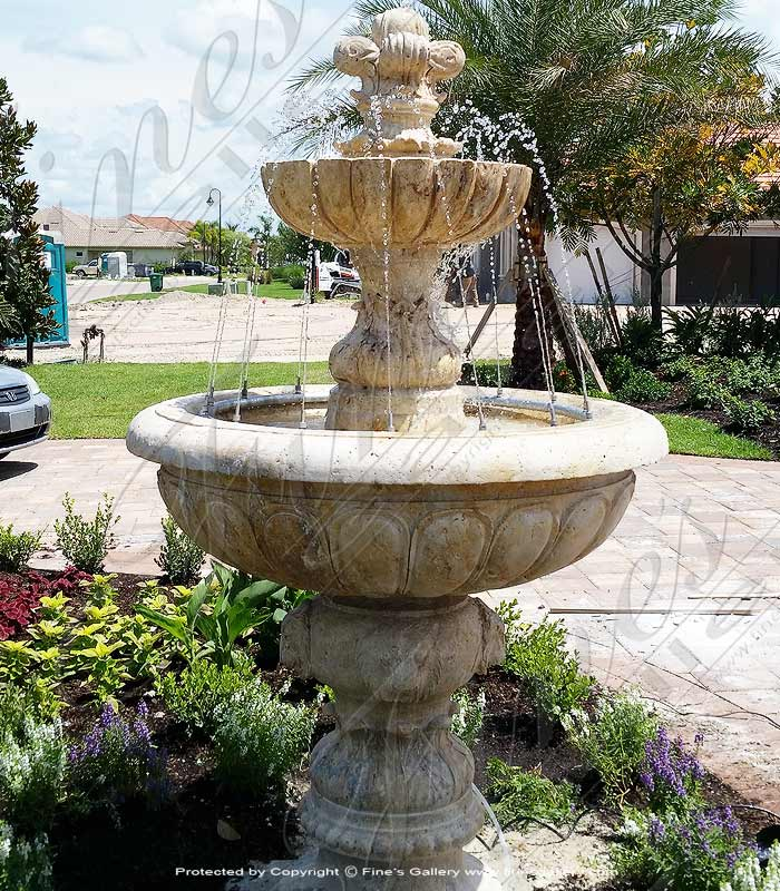 Fleur De Lis Travertine Fountain