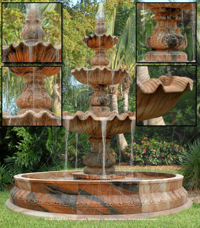 Marble Fountains  - 3 Tier Marble Fountain - MF-1049