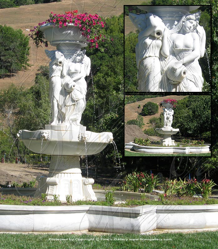 Marble Fountains  - Antique White Greco Roman Fountain - MF-1315