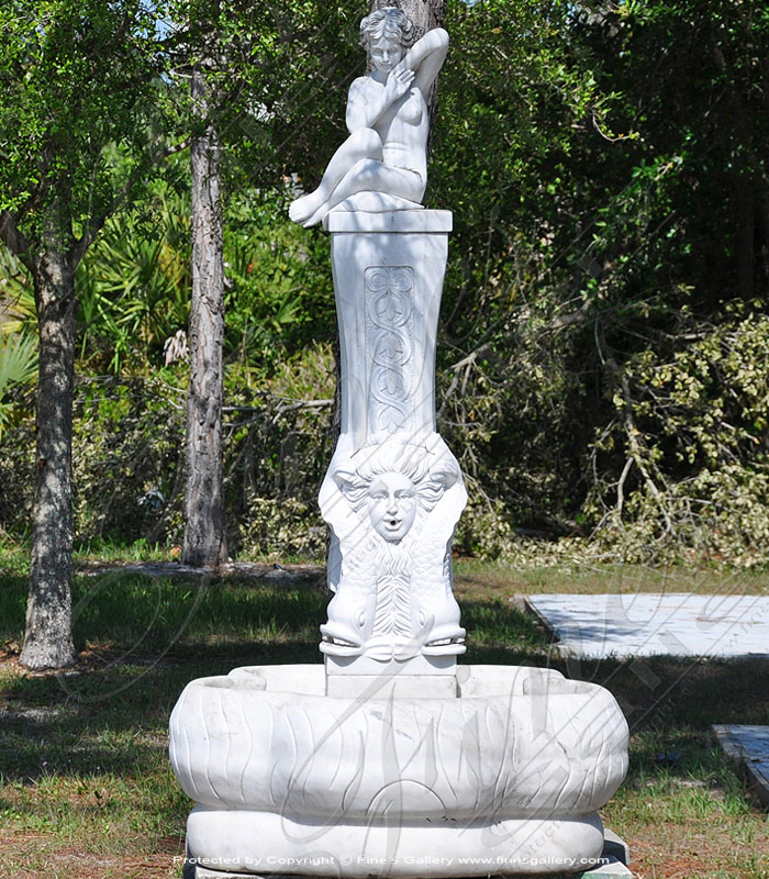 Marble Fountains  - Nude Female Marble Fountain - MF-787