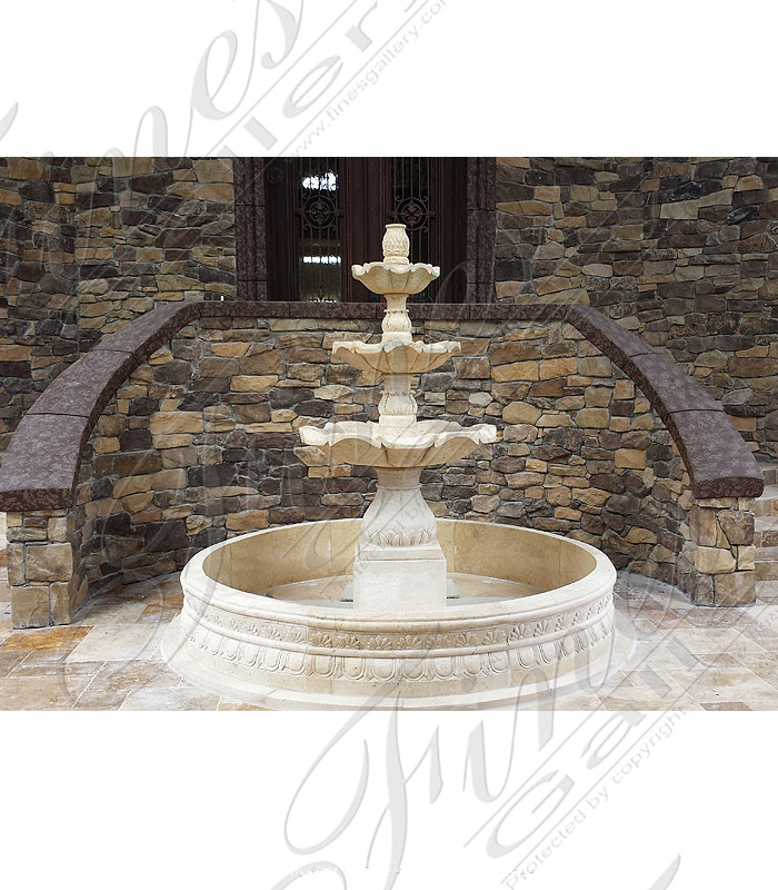Palm Beach FL Cream Marble Fountain Feature