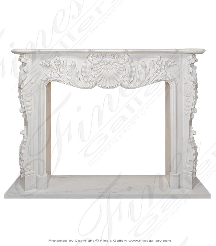 Marble Fireplaces  - French Style White Marble Surround - MFP-114