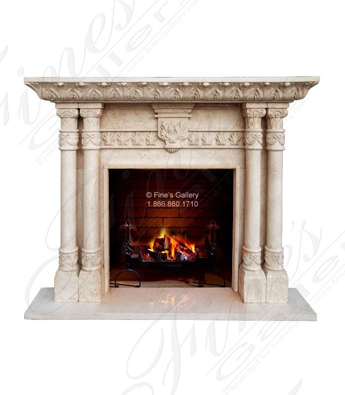 Four Pillar Cream Marble Mantel