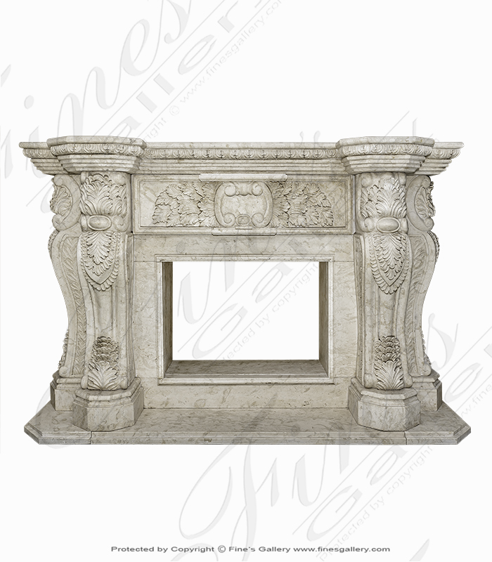 Marble Fireplaces  - Elegance And Grandeur Marble Fireplace - MFP-1231