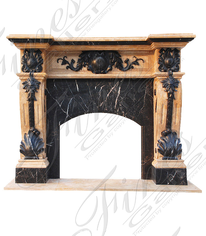 Marble Fireplaces  - Luxurious Ornate Marble Lion Over Mantel - MFP-1174