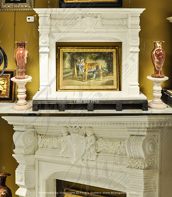Marble Fireplaces  - Cupids Fantasy Marble Fireplace - MFP-1247