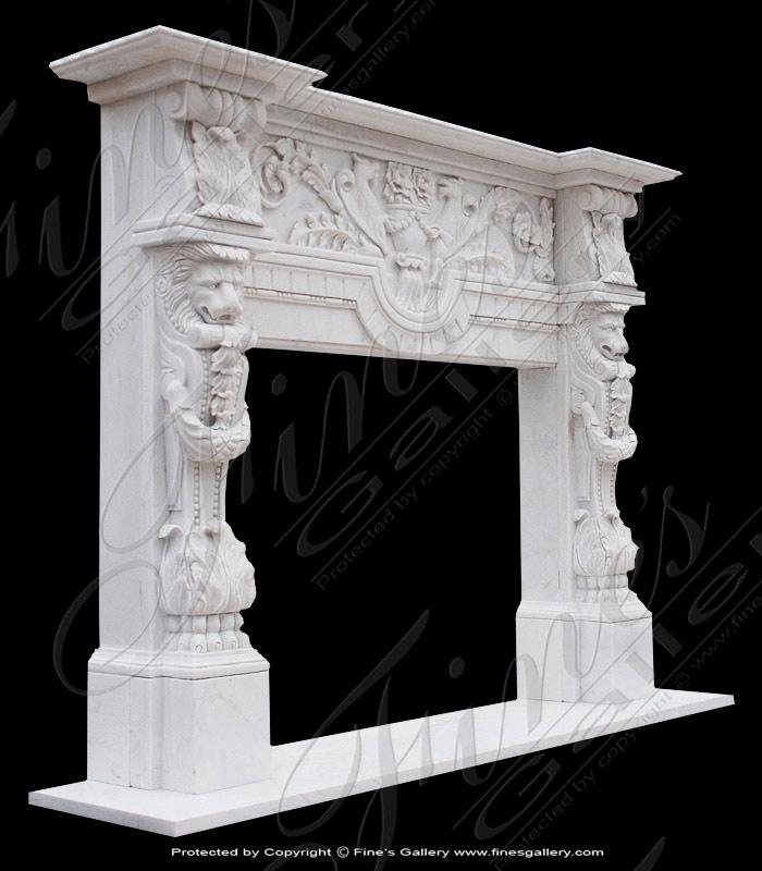 White Marble Italian Renaissance Fireplace Mantel