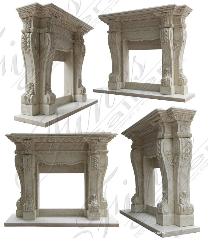 Bianco Perlino Marble Fireplace Mantel