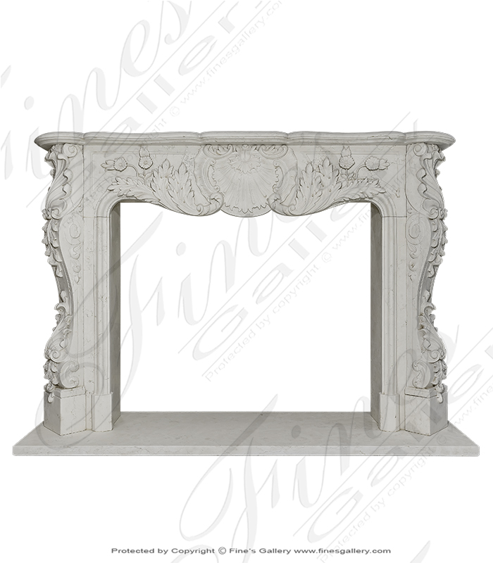 Marble Fireplaces  - White French Marble Fireplaces - MFP-114