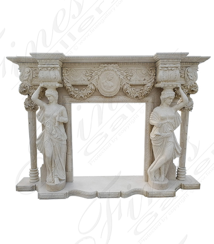 Marble Fireplaces  - Ornate White Marble Fireplace - MFP-1615