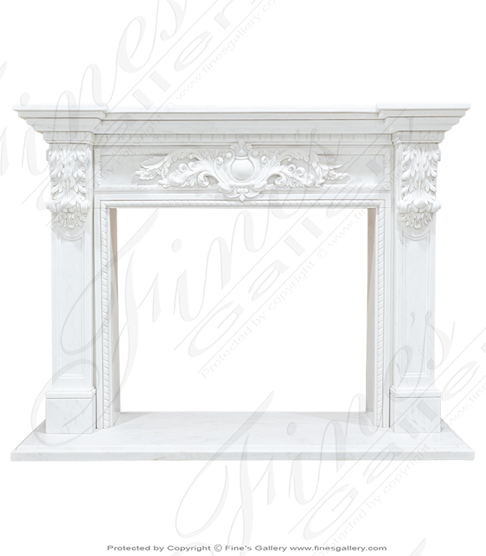 Marble Fireplaces  - White Marble Fireplace - MFP-1355