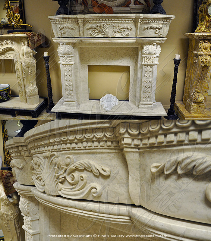Marble Fireplaces  - Cream White Marble Fireplace - MFP-1369