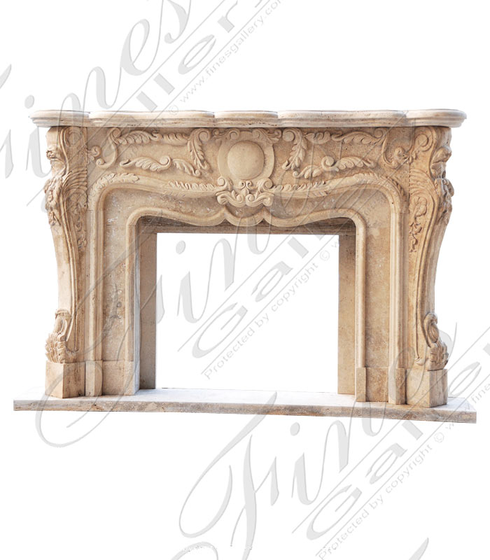 Marble Fireplaces  - Roman Silver Marble Fireplace Mantel - MFP-1393