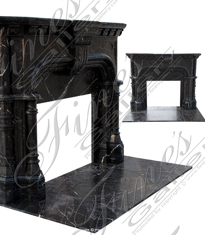 Marble Fireplaces  - Black Marble Tudor Fireplace - MFP-1407