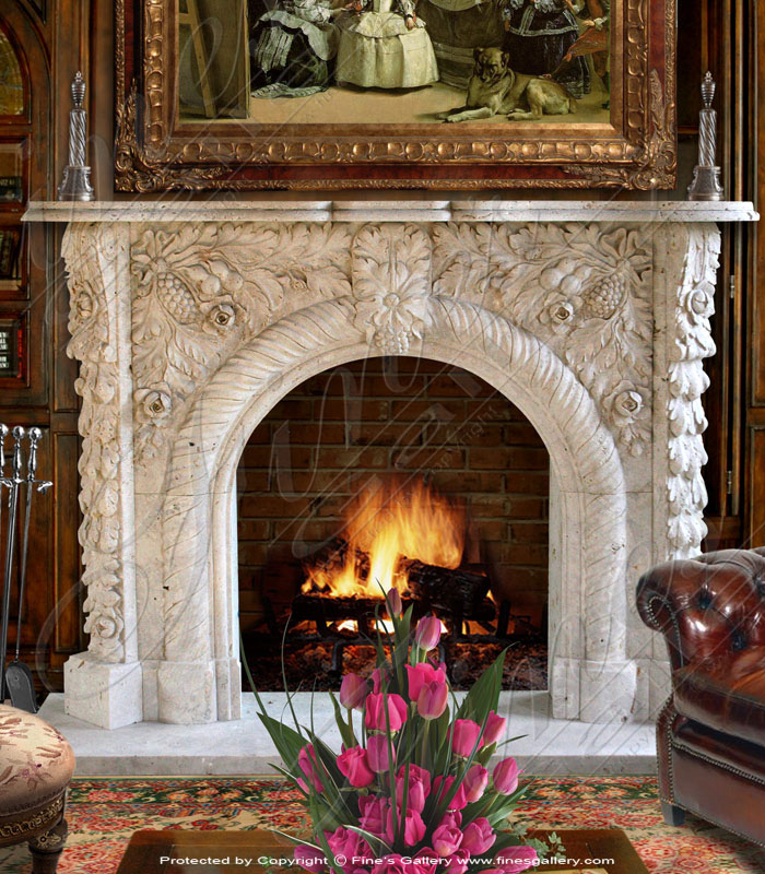 Grape Archway Marble Mantel