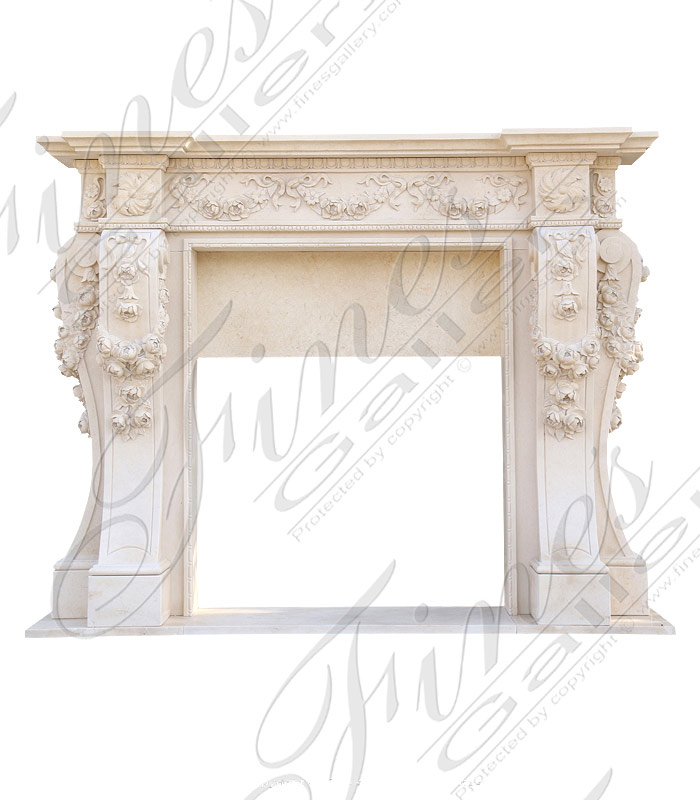 Majestic Floral Marble Fireplace