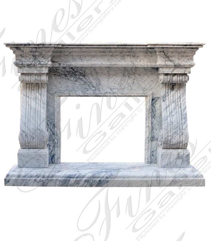 Transitional Tuscan Surround in Carrara Marble