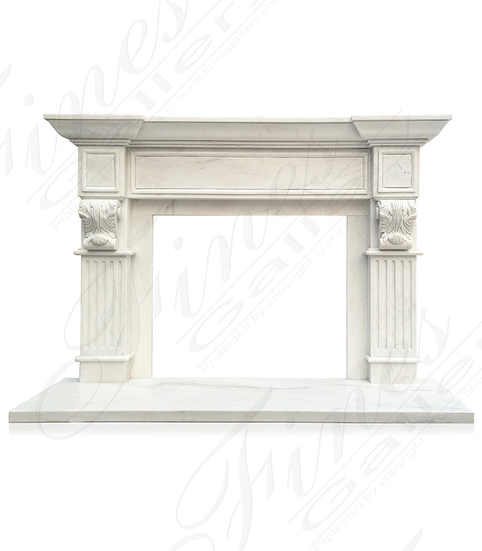 Transitional White Marble Mantel