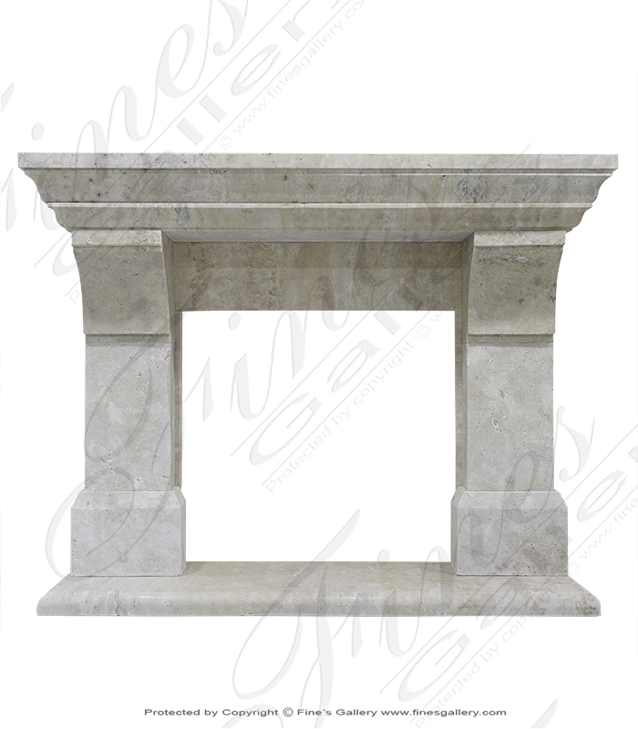 Natural Beige Marble Fireplace Mantel