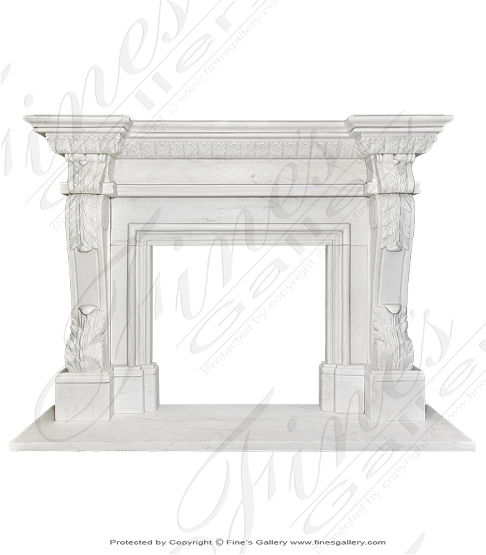The Accanthus IV White Marble Fireplace