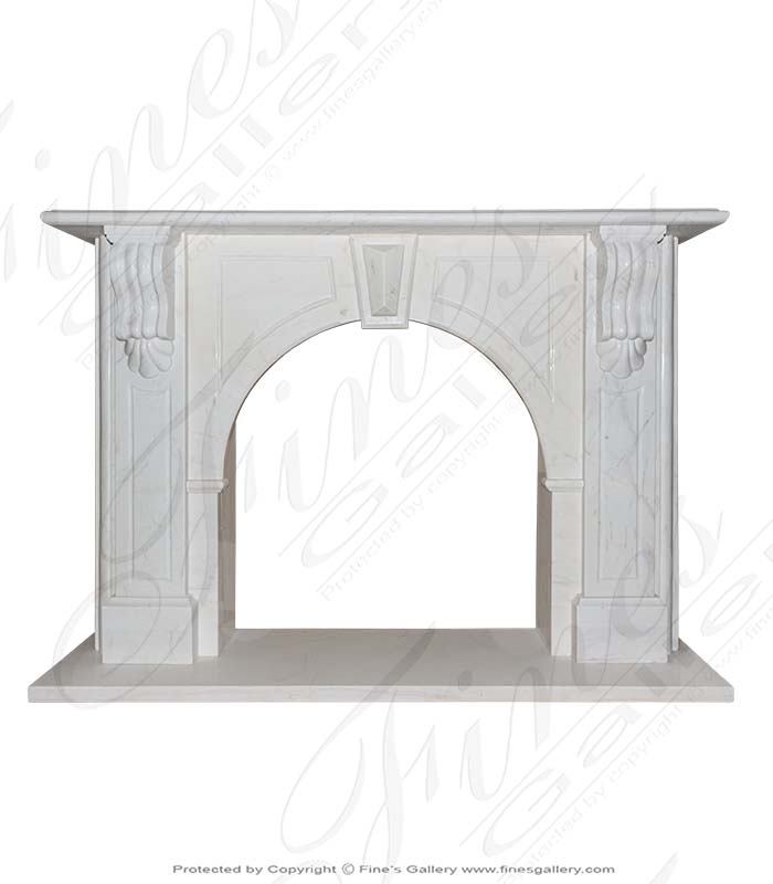 White Arched Marble Fireplace