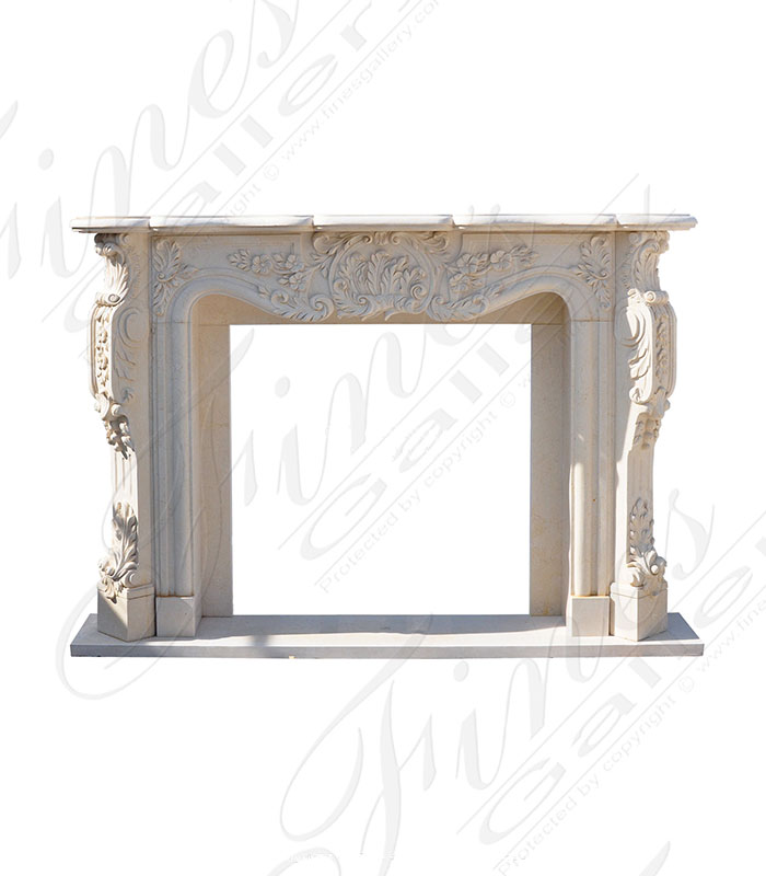 Marble Fireplaces  - Light Cream French Marble Mantel - MFP-1598