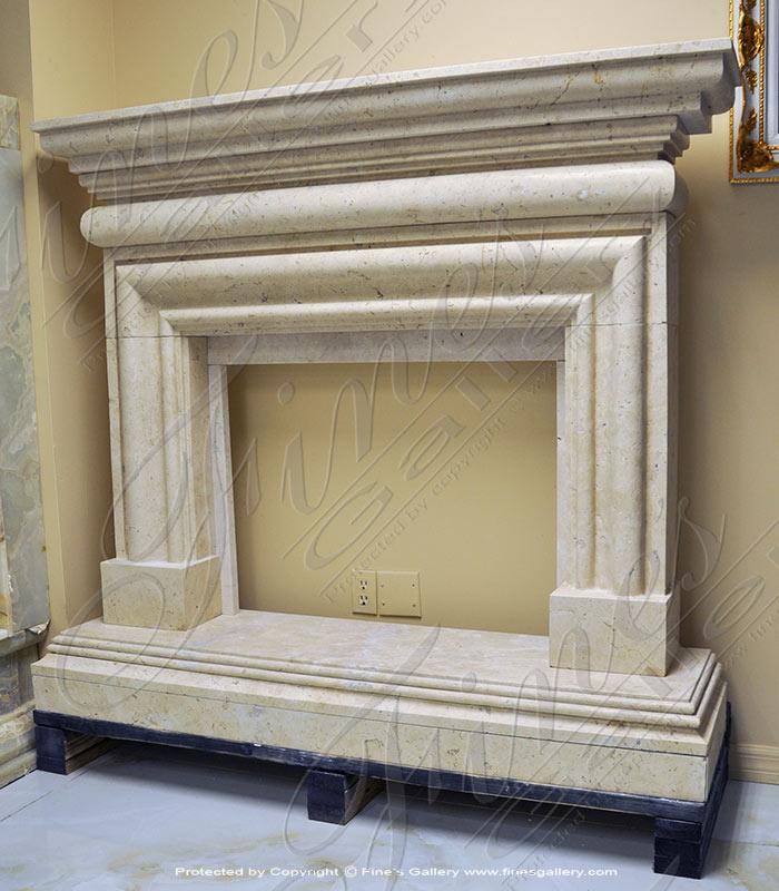 Light Beige Marble Fireplace