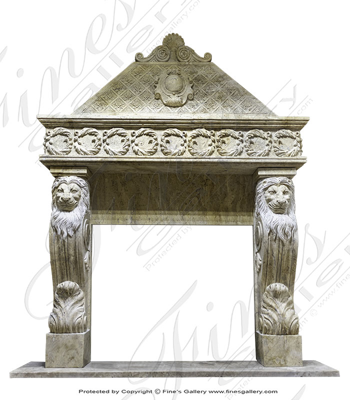 Marble Fireplaces  - Majestic Antique Gold Fireplace - MFP-1734