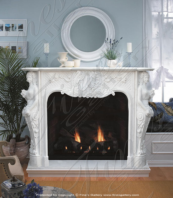 French Floral Marble Fireplace