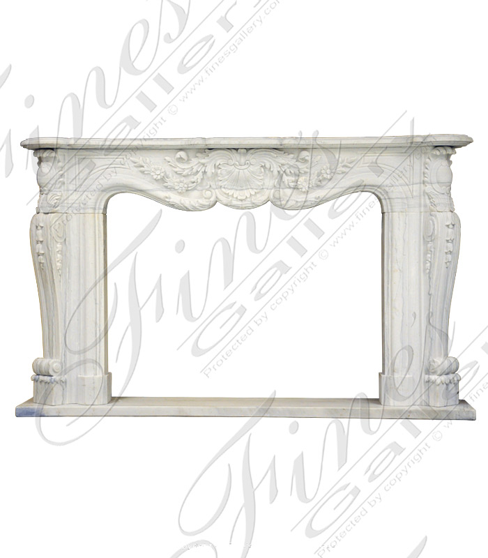 French Style White Marble Fireplace