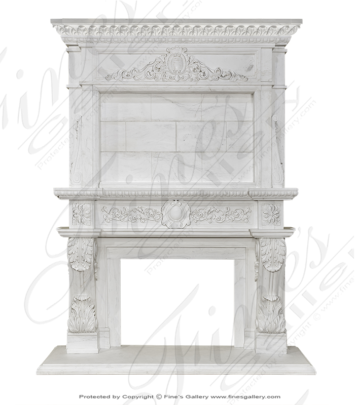 Marble Fireplaces  - Classic White Overmantel - MFP-1820