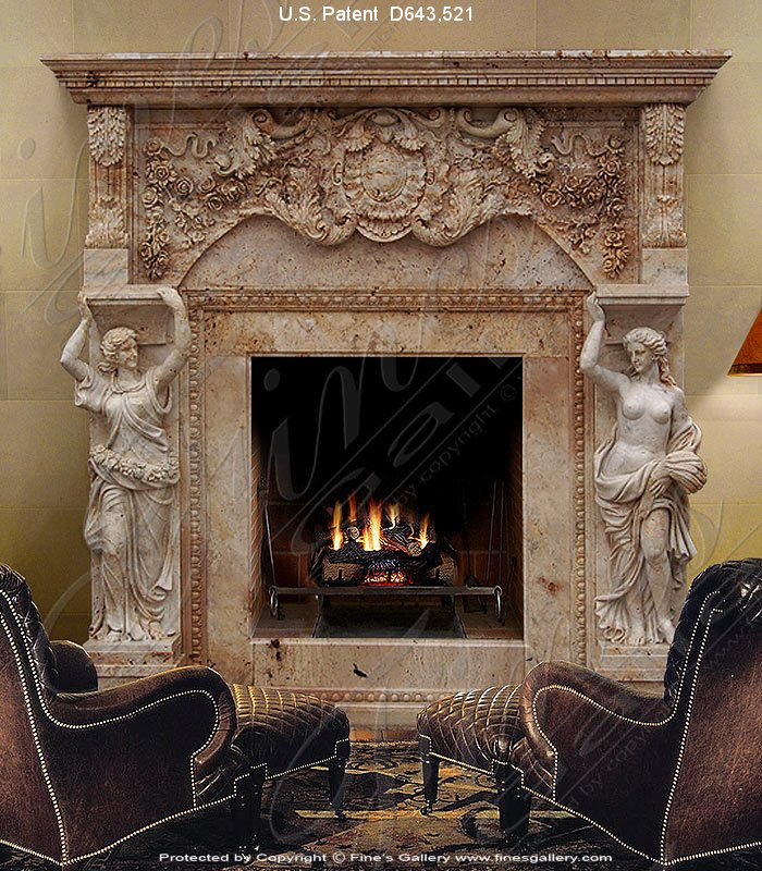 Marble Fireplaces  - Greco Roman Marble Fireplace - MFP-1314