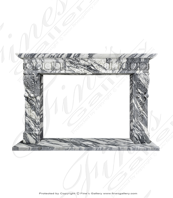 Marble Fireplaces  - Rare Regency Arabascato Marble Fireplace Surround - MFP-1866