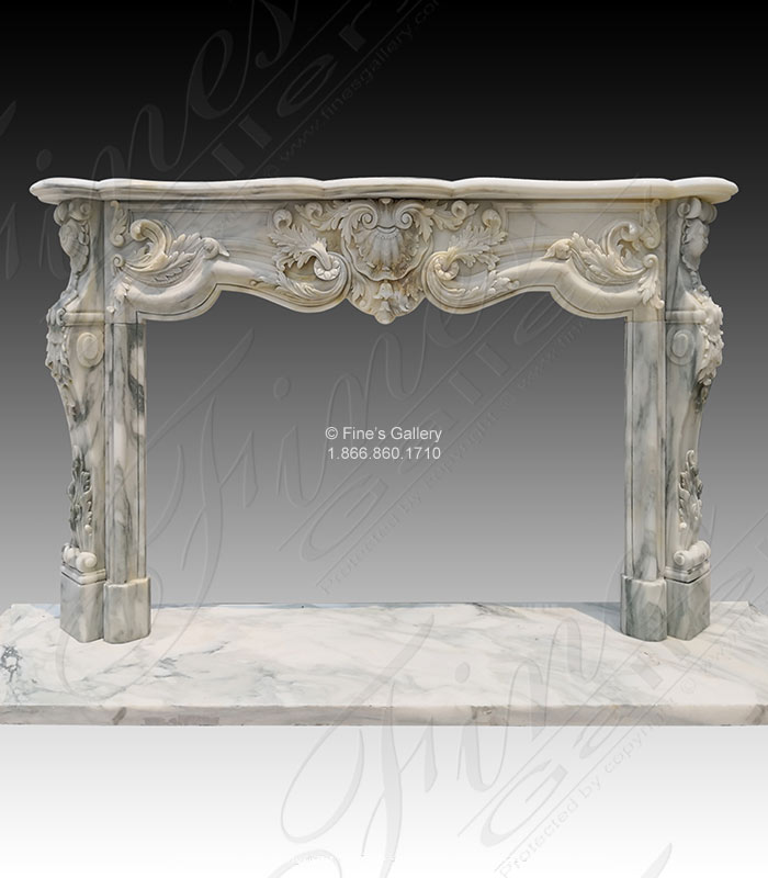 Marble Fireplaces  - King Rococo Mantel In Arabascato Marble - MFP-1887