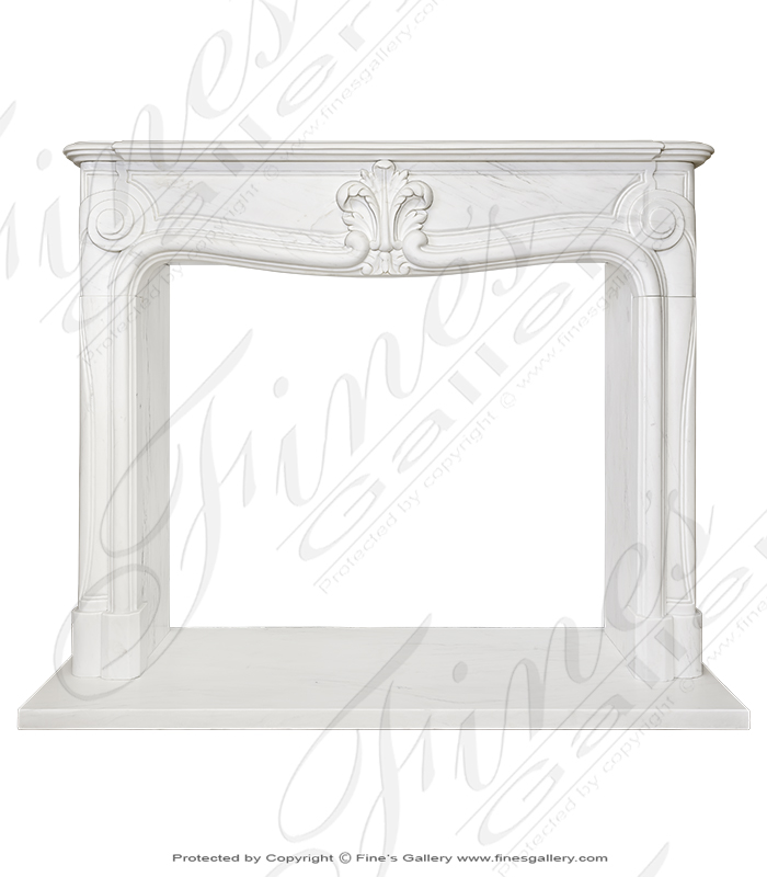 Pristine Pure White French Style Marble Fireplace Mantel