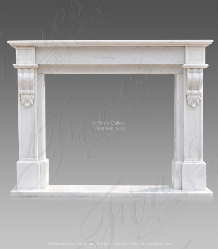 Old World French Mantel in White Marble